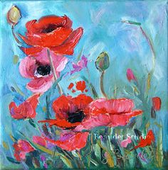 Poppies painting Original Floral Modern Impressionism Shabby chic cottage wall art Free Shipping