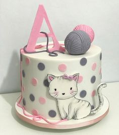 Colorful birthday cake for young and oldColorful cake. The hit on every birthday. Colorful birthday cake for young and old. recipes cake cake children birthstBello pastel redondo alto decorado en blanco con colores pastel y Kitten Cake, Kitten Party, Colorful Birthday Cake, Birthday Cake For Cat, Fondant Cakes, Cupcake Cakes, Animal Cakes, Girl Cakes, Pretty Cakes