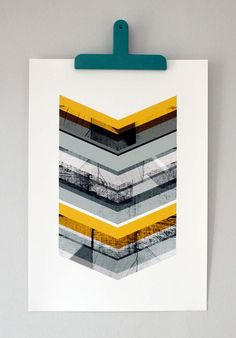 Grey & Yellow Chevron large print by mrseliotbooks on Etsy
