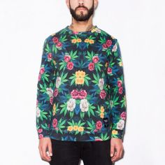 420 FLORAL unisex sweater Made on 100% cotton.  Certified Breaking Rocks sweater. #smoking #420 #floral #nature #weed #flowers #cozy #sweater #beard #tattoos