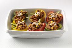 Turkey, Rice, Bean and Corn stuffed peppers