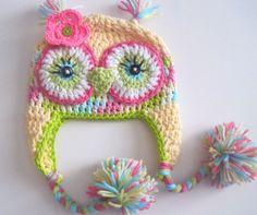 Spring Owl Hat Newborn to 18 months by leiguzman on Etsy, $20.00