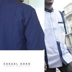 #Busana #muslim #Pria #Casual #Koko Damaskus Blue Series By #Fadilla Madani  100 % Cotton Europe & Doby Cotton  Size : S M L