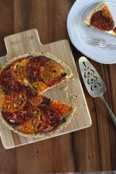 TOMATO INGREDIENT STUDY NO. 3:  Apologies ahead of time, but I am going to go heavy on the photos and  scarce on the words. Let the images do the talking; which I am hoping they  say all that needs to be said about this dish.  I've been seeing an abundance of tomato tarts out there in Inte