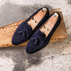 CARMINA — Our classic tassels in Navy suede. Safe bet for...
