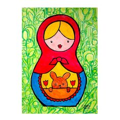 Spring Matryoshka 5 x 7 Original Watercolor Pencil by earthtogirl, $45.00
