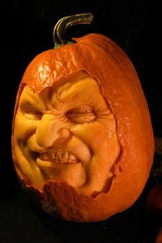 The Wonderfully wild, extreme pumpkin carvings of Jon Neill, celebrity pumpkin carver seen on Food Network's Halloween Wars. Amazing Pumpkin Carving, Scary Pumpkin, Pumpkin Art, Pumpkin Faces, Pumpkin Carvings, Carved Pumpkins, Pumpkin Stencil, Pumpkin Head, Food Carving