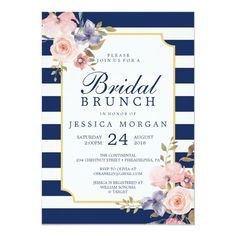 Navy Stripes Bridal Shower Invitation Pretty #beach themed #weddinginvitations - Make your wedding day super special with these custom #beachtheme #invitations and #stationary #simplebridalshowerinvitations
