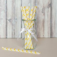 Paper Straws - White with Yellow Dots for $4.50 from The TomKat Studio Party Shop