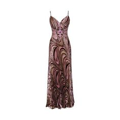 PacificPlex Neapolitan Swirl Satin Beaded Pleated Formal Gown Prom Dress ($64) found on Polyvore