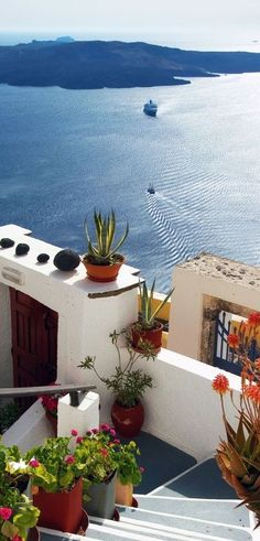 Volcano view from Fira, Santorini, Greece. For luxury hotels in Santorini visit… Places Around The World, The Places Youll Go, Travel Around The World, Places To See, Around The Worlds, Santorini Island, Fira Santorini, Santorini Italy, Fira Greece