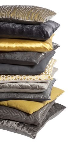 Claudi Cushions oker Gold / Grey Drapery Fabric, Drapes Curtains, Mustard Cushions, Teal And Grey, Yellow Black, Barn Renovation, Backrest Pillow, Soft Furnishings, Luxury Bedding