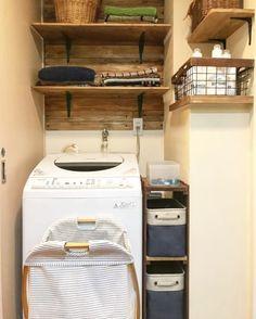 洗濯機上を有効活用する収納アイデア48選☆ | folk (4ページ) Stacked Washer Dryer, Washer And Dryer, Laundry Room, Washing Machine, Home Appliances, Interior, House Appliances, Washing And Drying Machine, Laundry Rooms