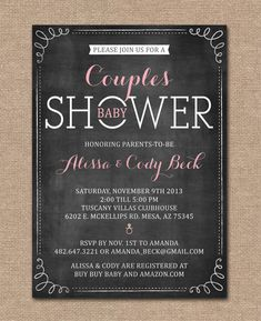 COUPLES BABY SHOWER Invitation Coed Shower. I want my baby shower to be coed. Definitely even bring the kids. :)