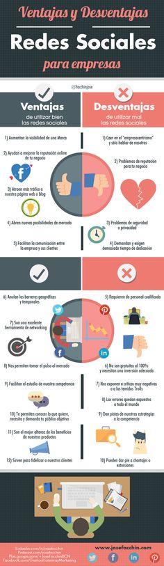 Ventajas y desventajas de las Redes Sociales para tu empresa #infografia #socialmedia