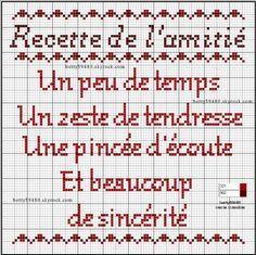 brodeuse - embroiderer - citation - amitié - point de croix - cross stitch - Blog : http://broderiemimie44.canalblog.com/