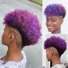 Short Natural Hairstyles for Women 2019 : Tapered Haircuts Top Beautiful Natural Hairstyles 2020 By Weopit. Looking for new, easy ways to style for your short, natural hair? Try one of these best natural hairstyles for some major hair inspiration. Purple Natural Hair, Tapered Natural Hair, Dyed Natural Hair, Bleached Hair, Tapered Haircut For Women, Curly Hair Styles, Natural Hair Styles, Shaved Hair Designs, Haircut Designs