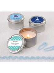 Baby Boy Personalized Baby Shower Candle Tins (Printed Label)