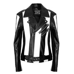 Leather jacket- KillStar Beetlejuice striped jacket  Beetlejuice gestreepte leren dames jas zwart/wit