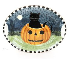 Very cute addition to Halloween collections. Do not have original box. Scary Halloween Costumes, Halloween Stuff, Spooky Halloween, Halloween Plates, Halloween Decorations, David Carter, Scary Stuff, Platter, Pumpkin