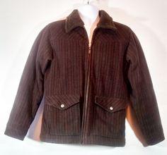 Womens Patagonia Wool Brown w/Orange Stripes Fleece Lined Zip Up Jacket Small #Patagonia #FleeceJacket