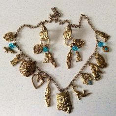 Cat Lovers Necklace & Earrings Costume Jewelry Set Gold Tone Charms Unsigned VGC
