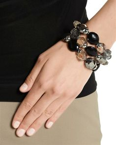 NEUTRAL/JET STRETCH BRACELET SET  STYLE: 570057179