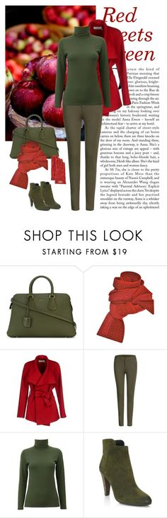 """""""Red meets Green"""" by dezaval ❤ liked on Polyvore featuring Bally, Prabal Gurung, BGN, Uniqlo, Elie Tahari, Salvatore Ferragamo, Boots, booties, scarf and totebag"""