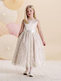 Wholesale Flower Girls' Dresses - Buy Popular 2015 Flower Girls' Dresses Crew Sleeveless Zipper Ankle Length Satin Ball Gown Exquisite Full Lace Kid Cute Little Girls' Gowns, $50.27 | DHgate