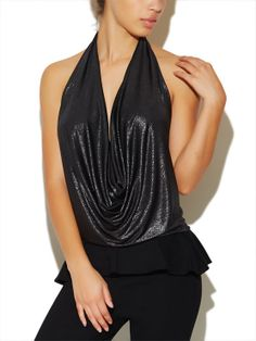 """Go for this barely-there draped halter top with an almost entirely exposed back, deep plunging drape and all-over subtle metallic glimmer. Entire top is soft, silky and stretchy for a super comfortable fit.  Model is 5'9"""" and wears a size small.  Polyester   Spandex USA Dry Clean or Delicate Wash"""