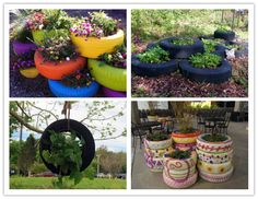 How to make DIY recycled tire flower gardens