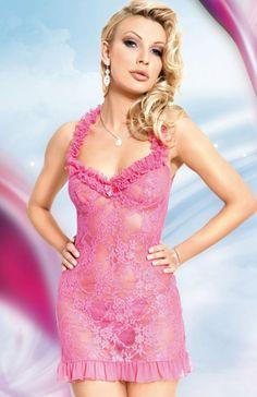 Softline Mia komplet różowy Niepowtarzalnie urocza koszulka oraz stringi. Koszulka wykonana z prześwitującej, elastycznej koronki