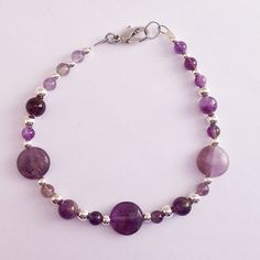 Amethyst Beaded Bracelet, Womens Bridesmaid Bracelet, Simple Purple Braclet, February Birthstone Gemstone Jewelry by EverydayWomenJewelry on Etsy https://www.etsy.com/listing/265009219/amethyst-beaded-bracelet-womens