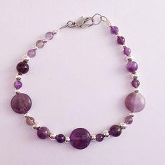Amethyst Beaded Bracelet, Womens Bridesmaid Bracelet, Simple Purple Braclet, February Birthstone Gemstone Jewelry by EverydayWomenJewelry on Etsy https://www.etsy.com/listing/265009219/amethyst-beaded-bracelet-womens