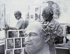 """Artist Working in His California Studio"" by Robert Arneson, 1977 (via Fuck Yeah Art History)"