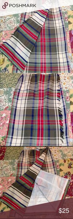 """LIZSPORT PRETTY LONG WRAP SKIRT SIZE 12. NWOT Great Fall Skirt!  Waist is approx 14 """"across, Length is approx 34"""" long. 2 pockets. Fringe running down side of skirt.  Size 12. 100% cotton. Liz Claiborne Skirts"""