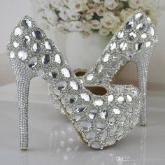 Silver Rhinestone Prom Party Shoes Women High Heeled Wedding Shoes The Bride Signle Shoes Pumps Size 34 43 Bridesmaids Shoes Shop Wedding Shoes Silver Bridal Shoes Uk From Partyprom, $74.85| Dhgate.Com