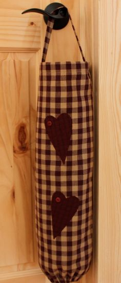 Homespun Country Primitive Plastic Grocery Bag Holder/Dispenser