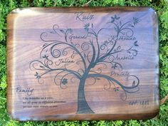 Personalized Engraved Walnut Wood Family Tree by Laserbird on Etsy, $43.00