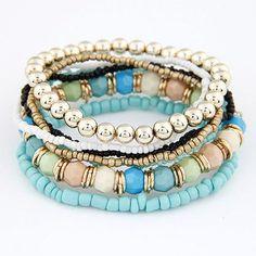 Exude your sense of fashion flair when you wear this beaded stretch bracelet set. Product Details: - 6-piece set - 3 color set choices