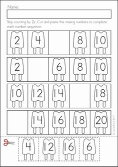 Kindergarten SUMMER Review Math & Literacy Worksheets & Activities. 104 pages. A page from the unit: skip counting by 2s popsicles Literacy Worksheets, 1st Grade Worksheets, Math Literacy, 1st Grade Math, Math Activities, Maths, Kindergarten Prep, Kindergarten Classroom, Math Charts