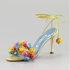 $300Manolo Blahnik Liseux Flower Ankle-Tie Sandal