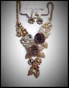 Parure Collier et B O oreilles percées cordon métal peint bijoux fantaisie NEUF