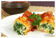 Spinach-Cheese Stuffed Crepes with Marinara Recipe | MyGourmetConnection