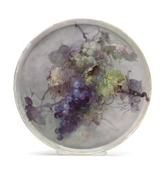 Tray with green and purple grapes By Franz Bischoff