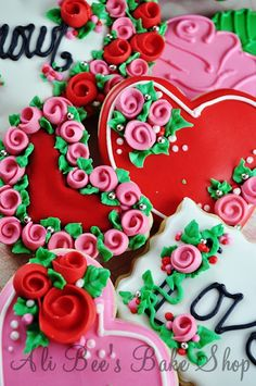 Ali Bee's Bake Shop - Ribbon rose sugar cookies.  Includes links to videos to making ribbon roses and making these cookies.