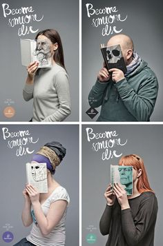 """""""When you read a book... You become someone else""""  [From Facebook Page of Viralmente]  An advertising of Mint Vinetu (Lituania)"""