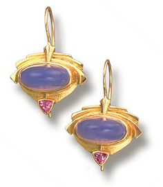 18K Gold, Blue Chalcedony and Pink Tourmaline Earrings by Athenae Inc  ~  x