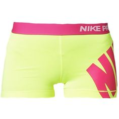 Nike Performance PRO Tights volthot pink BRL) ❤ liked on Polyvore featuring activewear, activewear shorts, shorts, bottoms, nike, sports, yellow, nike