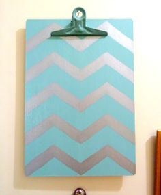 DIY Chevron Clipboard - put magnet strips on back to hang it on the fridge for shopping lists etc.
